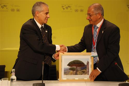 Presentation of gift from Yemen during COP 9 meeting Secretariat of the Convention on Biological Diversity