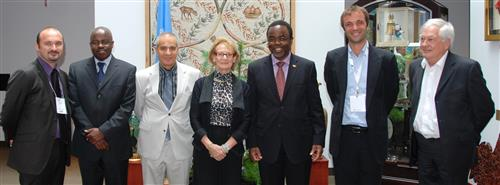 Visit of the Mayor of Montpellier and delegation, and UNCCD Executive Secretary Luc Gnacadja, with Melchiade Bukuru and staff Secretariat of the Convention on Biological Diversity