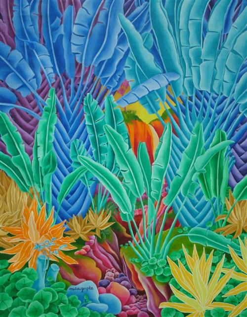 Waterfall painting from Mauritius Secretariat of the Convention on Biological Diversity