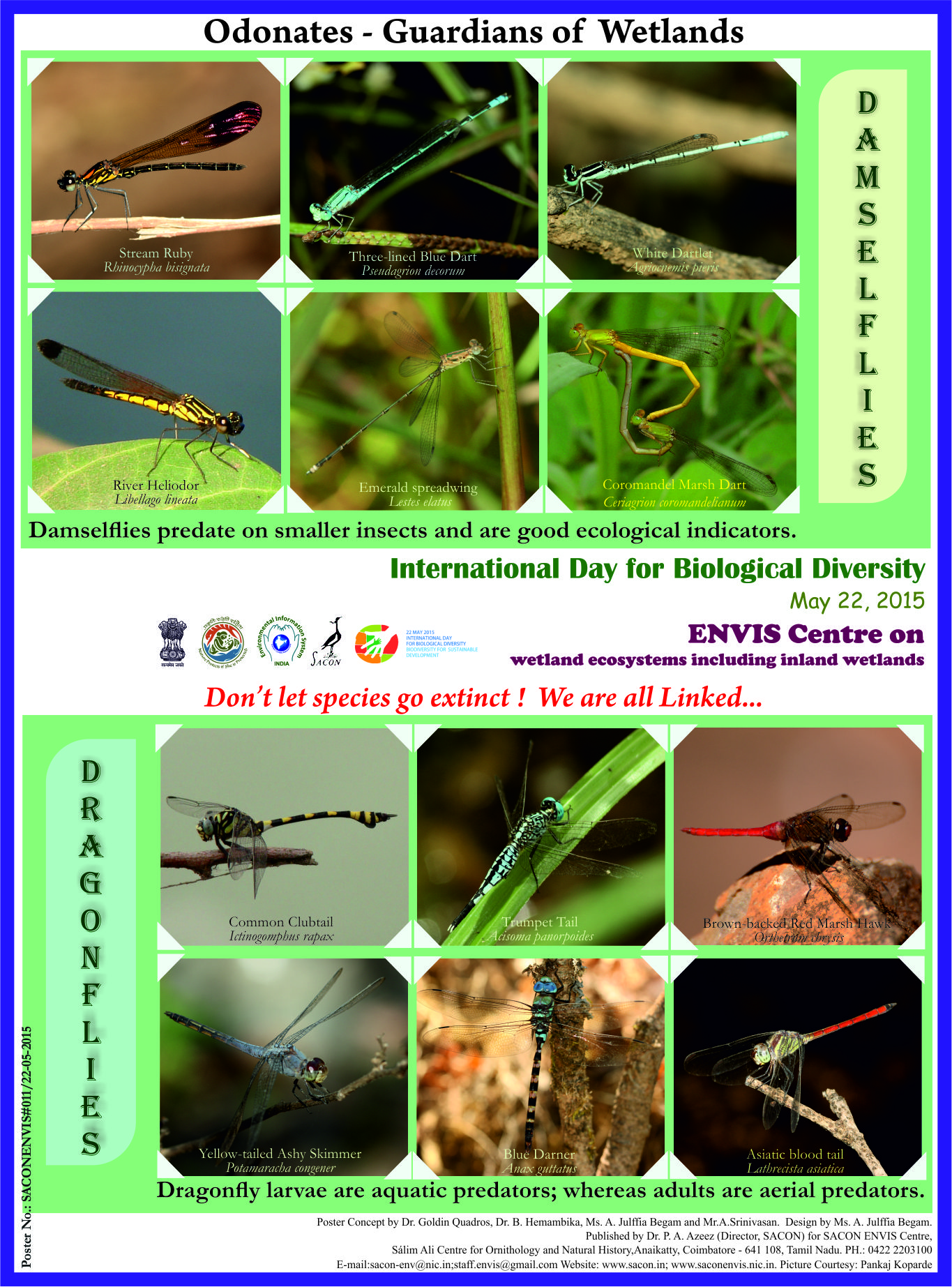 international day for biological diversity 2015 envis centre on wetland ecosystems including inland wetlands celebrated the international day for biological diversity by releasing a poster entitled
