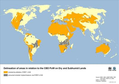 [Delineation of areas in relation to the CBD PoW on Dry and Subhumid Lands]